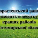Коростенський район входить в десятку кращих районів Житомирської області